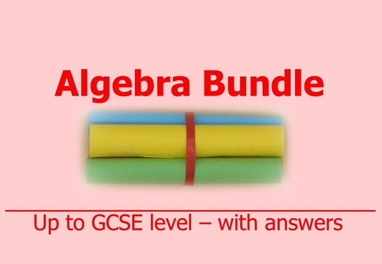 Downloadable bundle of four algebraic resources on simplifications, substitutions, linear equations and simultaneous equations by Irby Maths