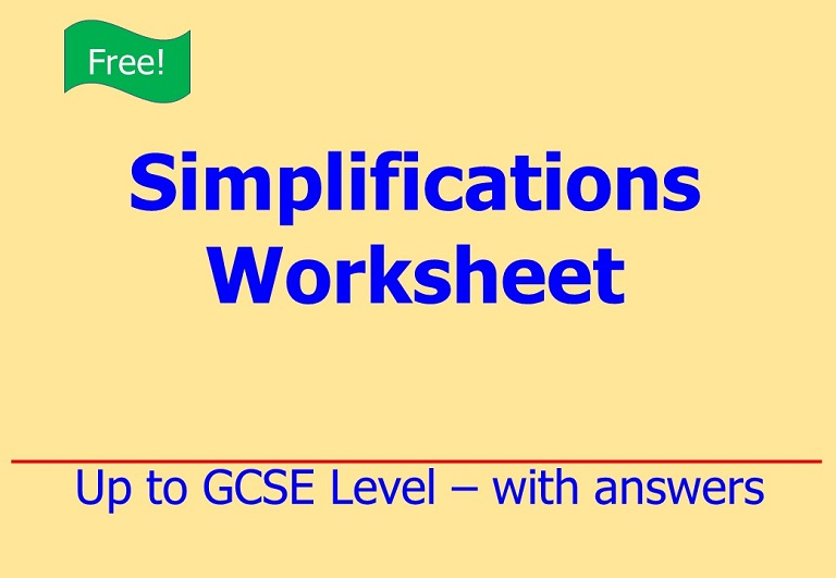 Free download on algebraic simplifications up to GCSE Level by Irby Maths